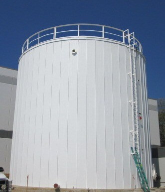 distribution center fire protection tank with Ridglok insulation